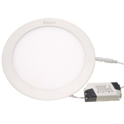 Тонкий встраиваемый круглый светильник D=225мм белый ободок