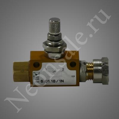 Переходник (кран натекатель точный, под 6мм) для металлических баллонов с газом 12л