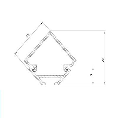 Профиль алюминиевый анодированный ЛСУ -с20 15.3х13 5х7.6 2м